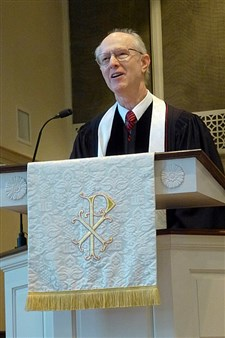 Rev. Archie Buie delivers a sermon at the 175th anniversary of First UMC, Lake City