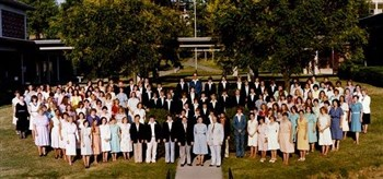 Group photo of the 1980 Methodist Festival Choir