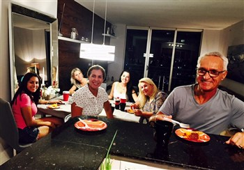 Small group of Brazilians in Miami enjoying a meal