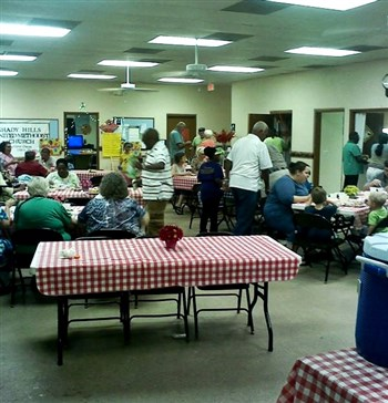 Members from two churches put on a spaghetti dinner at Shady Hills UMC