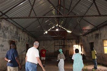 Angola mission team checks out ruined church building interior
