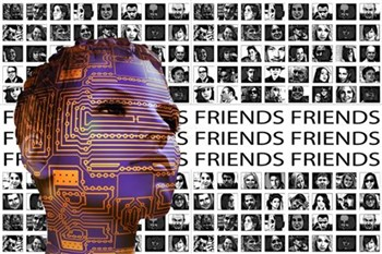 Photo illustration of teen with circuitry on face against backdrop of social media photos