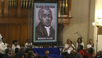 Crowd at Mother Bethel AME applauds Richard Allen stamp unveiling