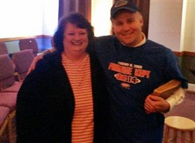 Deni Blankenship with Matt Horan wearing Gator shirt